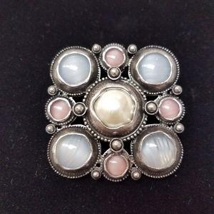 Multi colored brooch and pendant